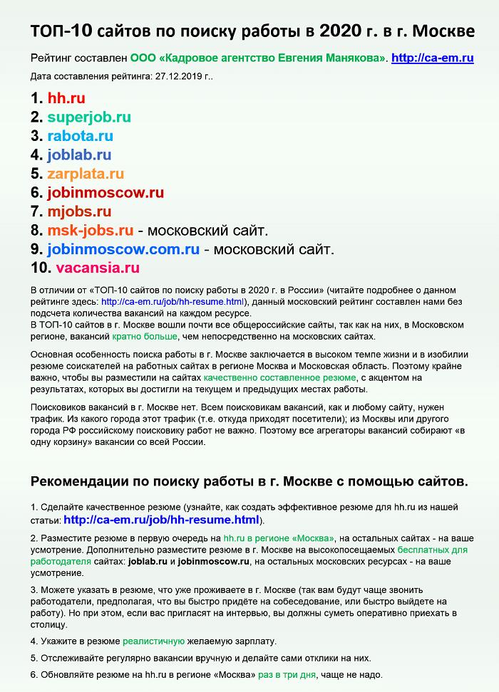 Сайты поиска работы в Москве
